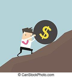 enorme, palla, spinta, dollaro, su, segno, carico, hill., uomo affari