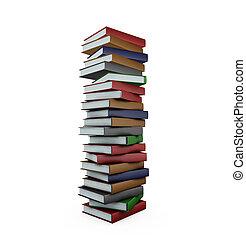 enorme, pilha livros