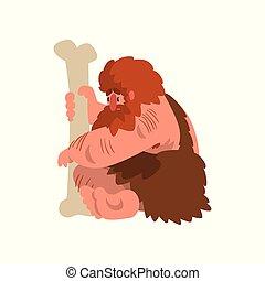 enorme, primitivo, preistorico, osso, caveman, seduta, carattere, pietra, muscolare, età, vettore, illustrazione, fondo, bianco, cartone animato, uomo