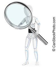 enorme, robô, humanoid, vidro, magnificar, 3d