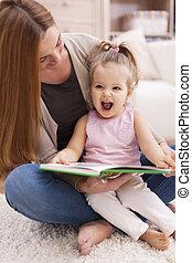 enorme, semelhante, alegria, livro, mãe, leitura, escutar