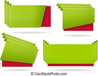 enorme, set, illustration., colorito, carta, banners., vettore, origami