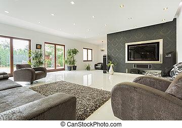enorme, soggiorno, in, costoso, casa