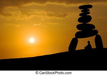 enorme, stress, faccia, tramonto, sotto, meditazione