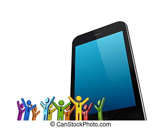 enorme, telefone móvel, e, coloridos, 3d, pequeno, pessoas.