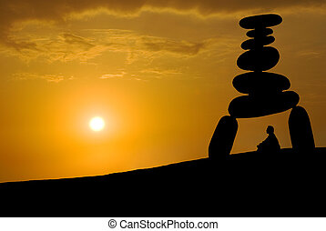 enorme, tensão, rosto, pôr do sol, sob, meditação