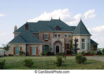 enorme, tijolo, casa lago