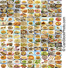 enorme, variedade, de, cozinhado, pratos