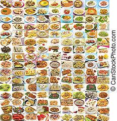 enorme, variedade, de, diferente, pratos