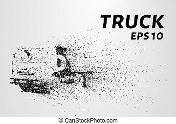 enorme, vetorial, ilustração, particles., circles., caminhão, pequeno