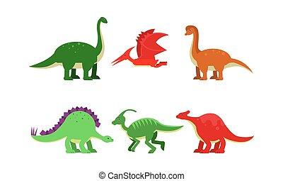 Dinosaurus of different kind. Brontosaurus, diplodocus, pteranodon, stegosaurus, parasaurolophus, brachiosaurus. Vector illustrations cartoon character isolated white background