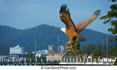 Enormous Eagle Statue near a Boat Quay - Video 1080p -...