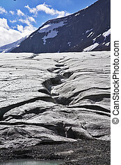 Enormous glacier in mountains of Canada. Thawing edges