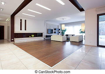 Photo of enormous house with spacious bright living room