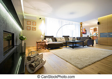 Enormous bright lounge with big comfortable sofa