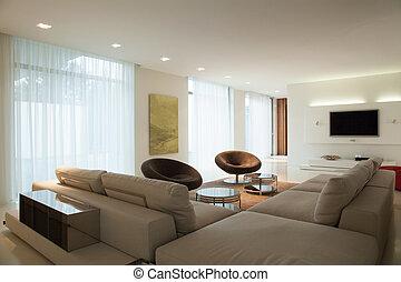 Enormous comfortable sofa in cozy main room