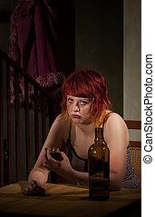 enpty, femme, jeune, bouteille, vin