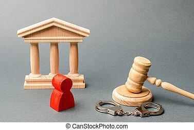 enquête criminelle, défendeur, homme, trial., protection, judiciaire, sentences., crime., figurine, case., exécution, strategy., rouges, système, verdict