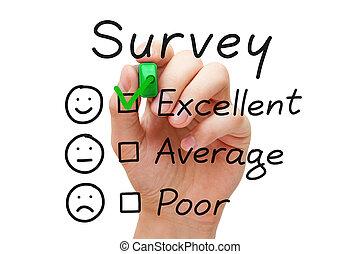 enquête, excellent, évaluation