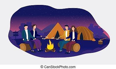 enquanto, acampamento, cozinhar, par, marshmallows