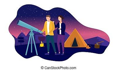 enquanto, acampamento, telescópio, par, noturna