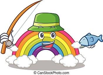 enquanto, arco íris, desenho, pesca, caricatura, conceito