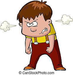 Enraged child on a white background vector illustration