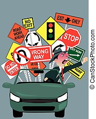 Enraged driver on the road - Cartoon character of an angry ...