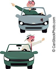 Enraged drivers - Two vector cartoon characters of enraged ...