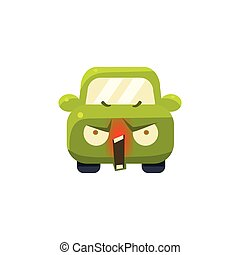 Enraged Green Car Emoji Cute Childish Style Character Flat ...