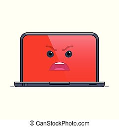 Enraged laptop computer isolated emoticon icon. Furious ...