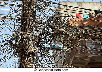 enredado, cables, eléctrico