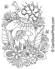 enredo, vector, garabato, zen, drawing., énfasis, negro, anti, flowers., caracol, colorido, adults., ilustración, white., libro