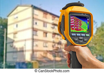 enregistrement, bâtiments, à, thermique, appareil photo