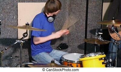 enregistrement, batteur, studio, dums, jouer