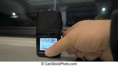enregistrement, commencer, dictaphone