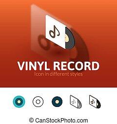 enregistrement, différent, icône, style, vinyle