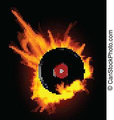 enregistrement, disque, vinyle, flammes