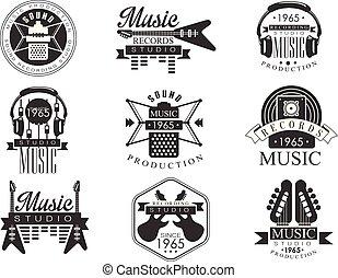 enregistrement, emblèmes, studio musique, blanc, noir