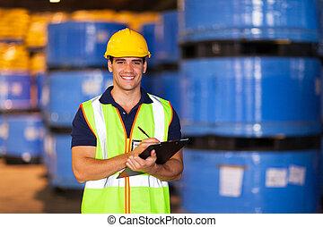 enregistrement, entrepôt, ouvrier, jeune, stockage