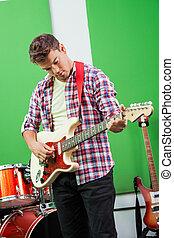 enregistrement, exécuter, guitariste, studio, mâle