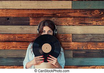 enregistrement, femme, phonographe