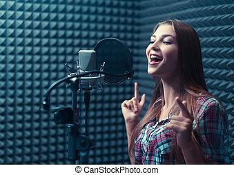 enregistrement, femme, studio