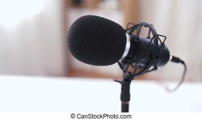 enregistrement, fin, microphone, studio, haut