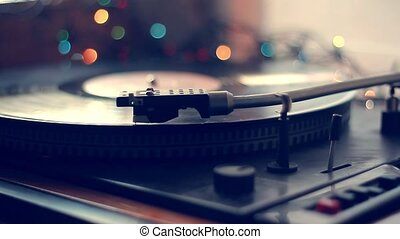 enregistrement, foyer, joueur, vendange, antiquarian, album, vinyle, aiguille, gros plan, rotation, platine, sélectif, extrêmement, jouer