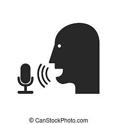 enregistrement, icon., voix