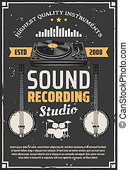 enregistrement, instruments, studio, musique