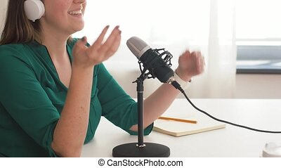 enregistrement, microphone, femme, studio, podcast