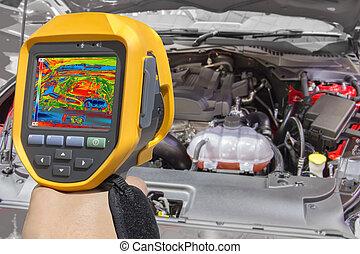 enregistrement, moteur voiture, à, thermique, appareil photo