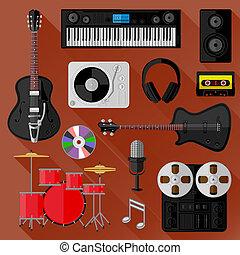 enregistrement, musique, concept, studio